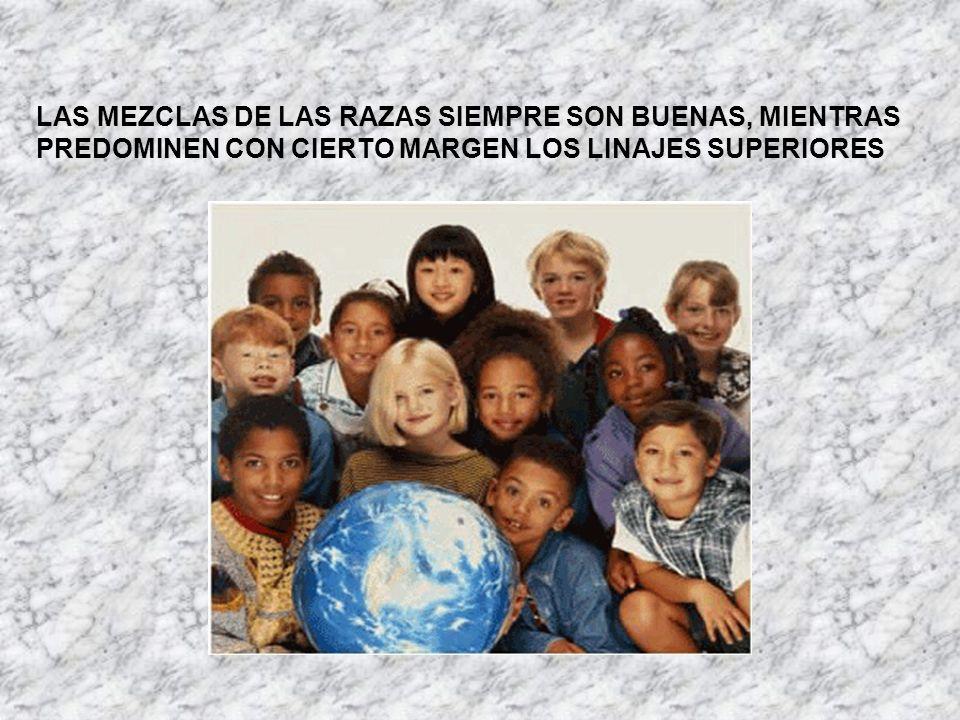 LAS MEZCLAS DE LAS RAZAS SIEMPRE SON BUENAS, MIENTRAS PREDOMINEN CON CIERTO MARGEN LOS LINAJES SUPERIORES