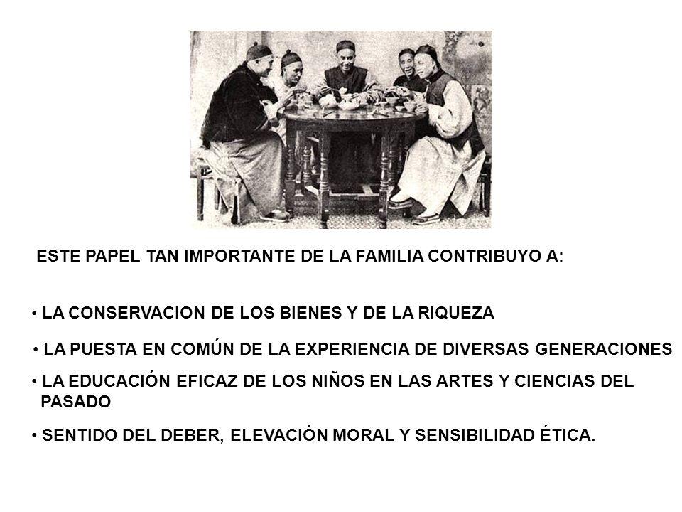 ESTE PAPEL TAN IMPORTANTE DE LA FAMILIA CONTRIBUYO A: LA CONSERVACION DE LOS BIENES Y DE LA RIQUEZA LA PUESTA EN COMÚN DE LA EXPERIENCIA DE DIVERSAS G