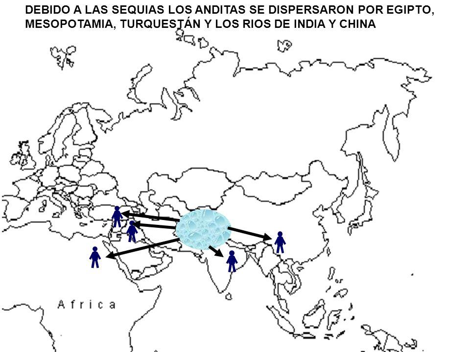 DEBIO A LA SEQUIA, LOS PUEBLOS ANDONITAS DEL NORTE EMPUJARON A LOS ANDITAS DE MESOPOTAMIA Y TURQUESTÁN.