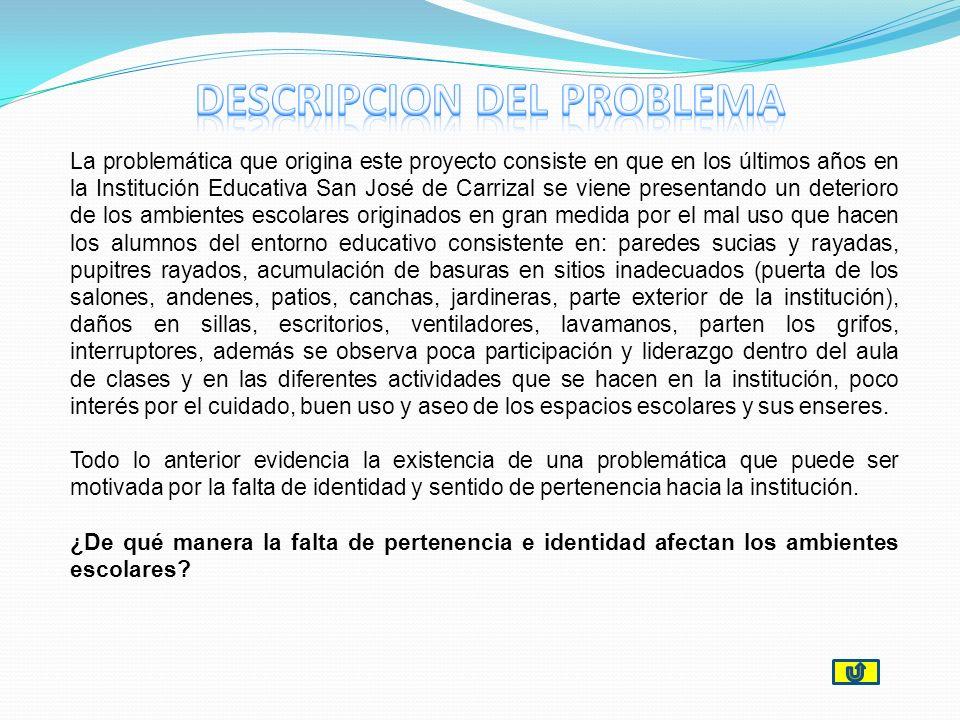 La problemática que origina este proyecto consiste en que en los últimos años en la Institución Educativa San José de Carrizal se viene presentando un