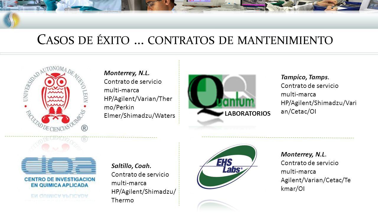 C ASOS DE ÉXITO … CONTRATOS DE MANTENIMIENTO Monterrey, N.L. Contrato de servicio multi-marca Agilent/Varian/Cetac/Te kmar/OI Tampico, Tamps. Contrato