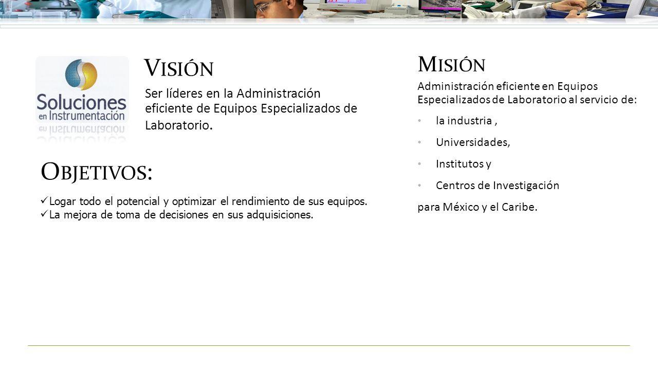 V ISIÓN Ser líderes en la Administración eficiente de Equipos Especializados de Laboratorio. M ISIÓN Administración eficiente en Equipos Especializado