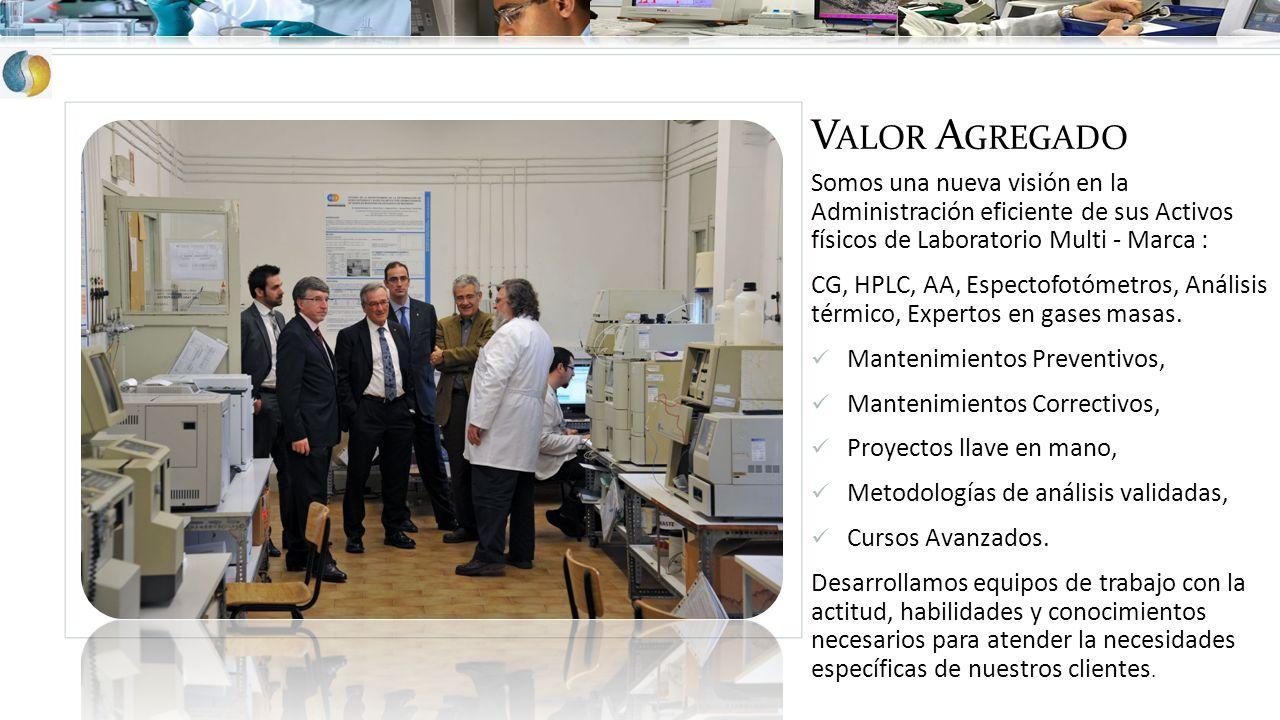 V ALOR A GREGADO Somos una nueva visión en la Administración eficiente de sus Activos físicos de Laboratorio Multi - Marca : CG, HPLC, AA, Espectofotó
