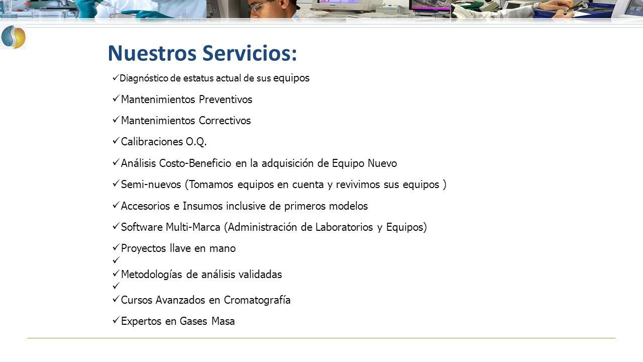 Nuestros Servicios: Diagnóstico de estatus actual de sus equipos Mantenimientos Preventivos Mantenimientos Correctivos Calibraciones O.Q. Análisis Cos