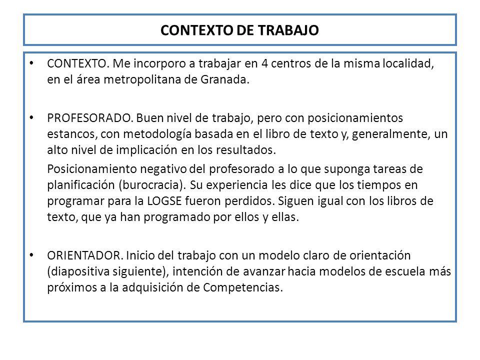 CONTEXTO DE TRABAJO CONTEXTO. Me incorporo a trabajar en 4 centros de la misma localidad, en el área metropolitana de Granada. PROFESORADO. Buen nivel