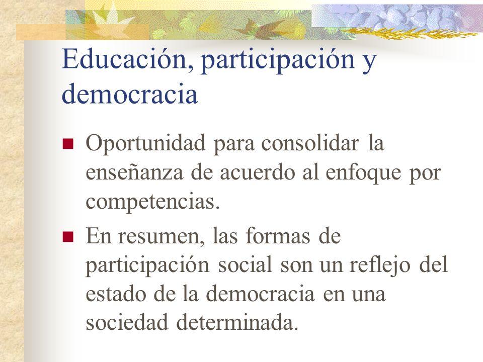 Educación, participación y democracia Oportunidad para consolidar la enseñanza de acuerdo al enfoque por competencias. En resumen, las formas de parti