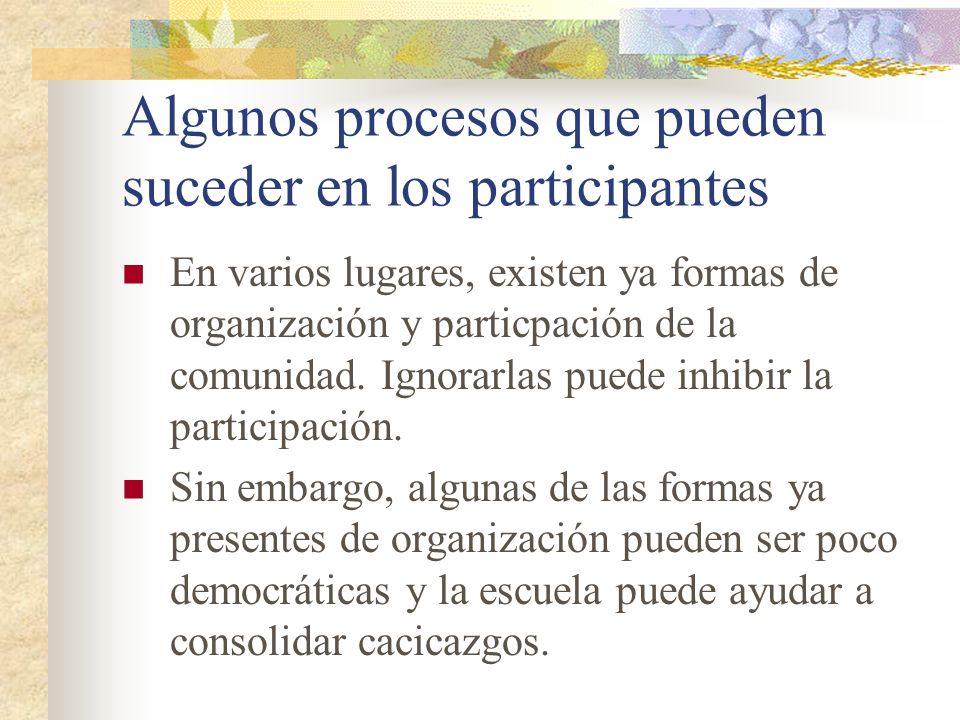 Algunos procesos que pueden suceder en los participantes En varios lugares, existen ya formas de organización y particpación de la comunidad. Ignorarl