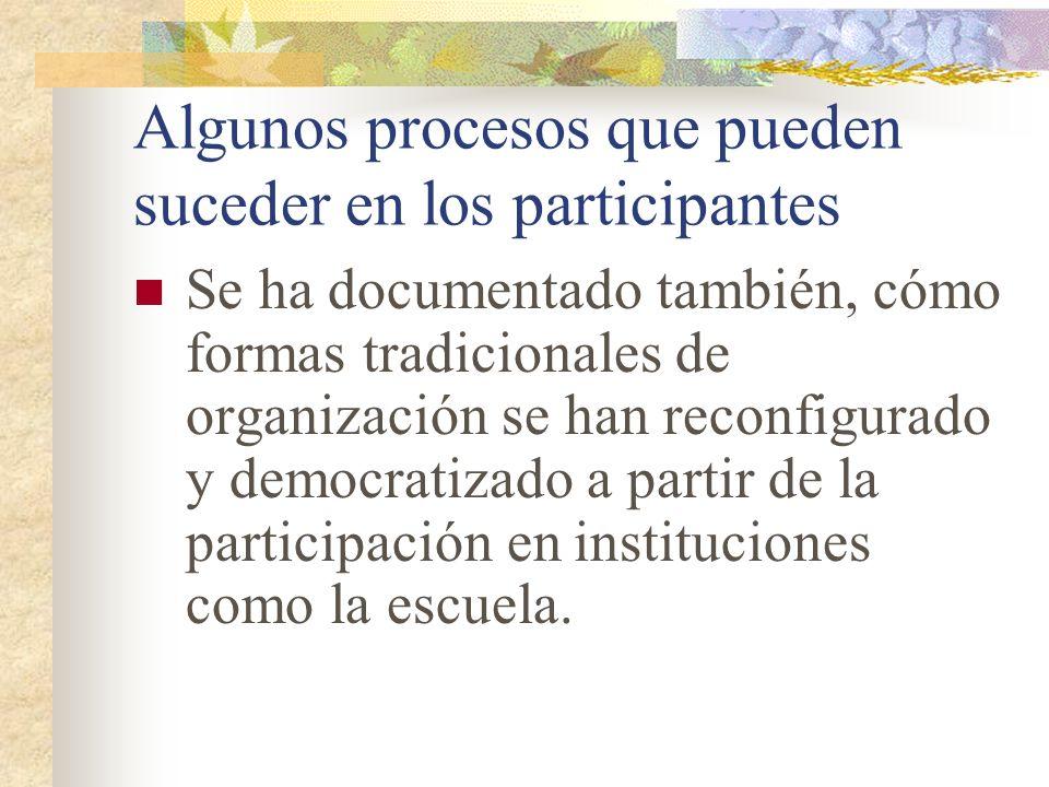 Algunos procesos que pueden suceder en los participantes Se ha documentado también, cómo formas tradicionales de organización se han reconfigurado y d