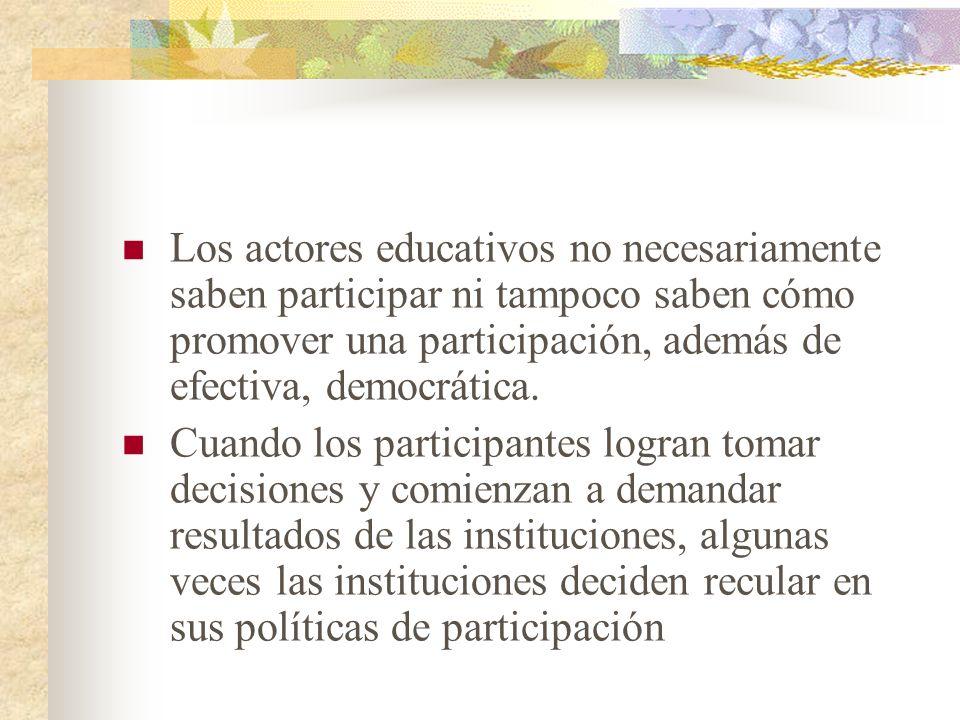 Los actores educativos no necesariamente saben participar ni tampoco saben cómo promover una participación, además de efectiva, democrática. Cuando lo