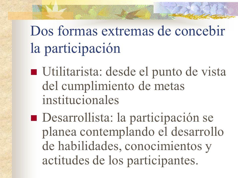 Dos formas extremas de concebir la participación Utilitarista: desde el punto de vista del cumplimiento de metas institucionales Desarrollista: la par