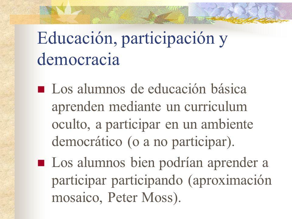 Educación, participación y democracia Formación de ciudadanos y promotora de prácticas democráticas como un laboratorio mismo de enseñanza.
