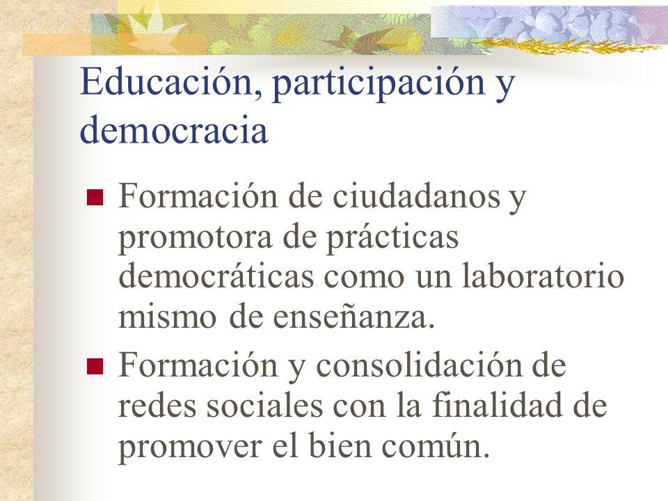 Educación, participación y democracia Formación de ciudadanos y promotora de prácticas democráticas como un laboratorio mismo de enseñanza. Formación