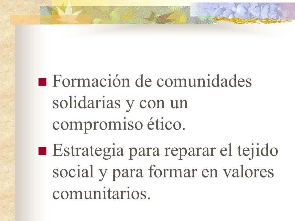 Formación de comunidades solidarias y con un compromiso ético. Estrategia para reparar el tejido social y para formar en valores comunitarios.