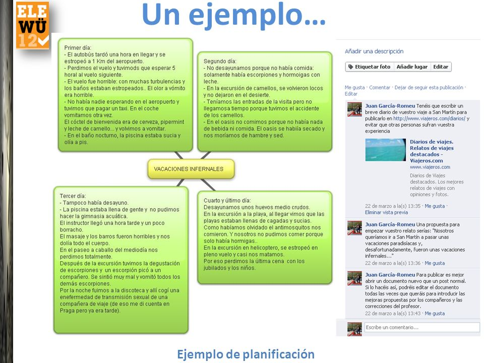 Un ejemplo… Ejemplo de planificación