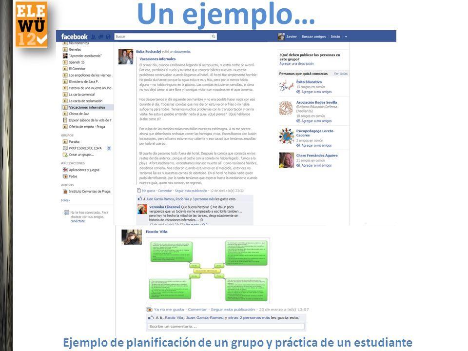 Un ejemplo… Ejemplo de planificación de un grupo y práctica de un estudiante