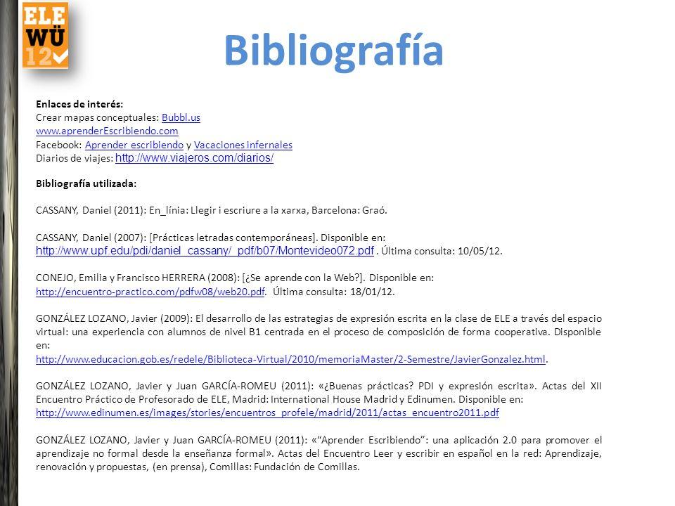 Enlaces de interés: Crear mapas conceptuales: Bubbl.usBubbl.us www.aprenderEscribiendo.com Facebook: Aprender escribiendo y Vacaciones infernalesApren