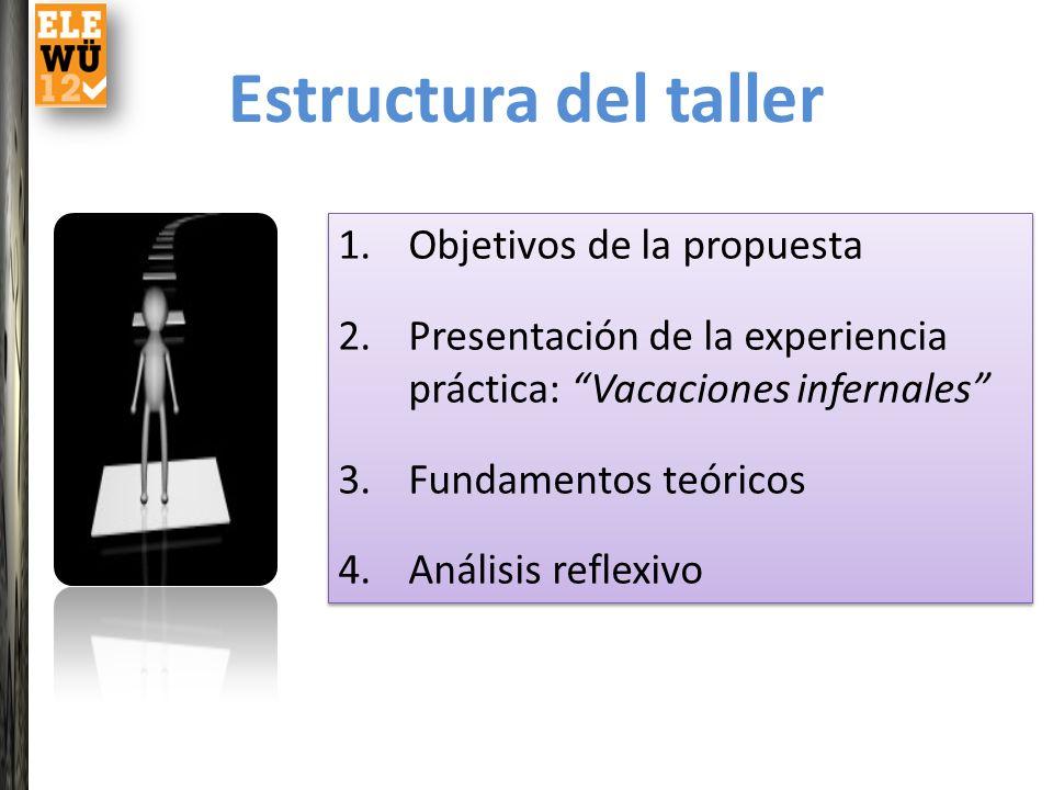 Estructura del taller 1.Objetivos de la propuesta 2.Presentación de la experiencia práctica: Vacaciones infernales 3.Fundamentos teóricos 4.Análisis r