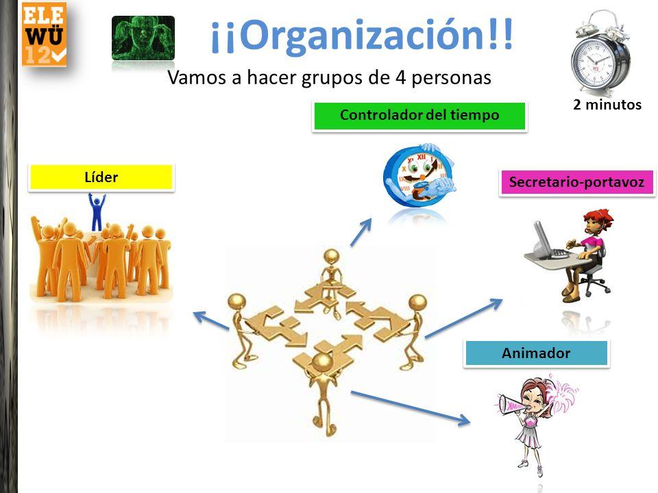 ¡¡Organización!! Vamos a hacer grupos de 4 personas Líder Animador Secretario-portavoz Controlador del tiempo 2 minutos