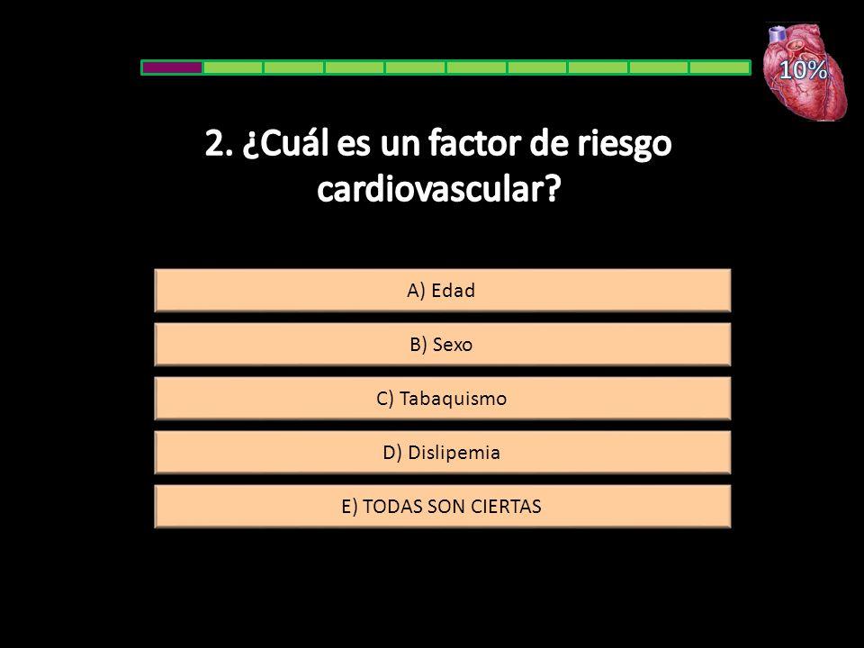 A) Edad B) Sexo E) TODAS SON CIERTAS D) Dislipemia C) Tabaquismo
