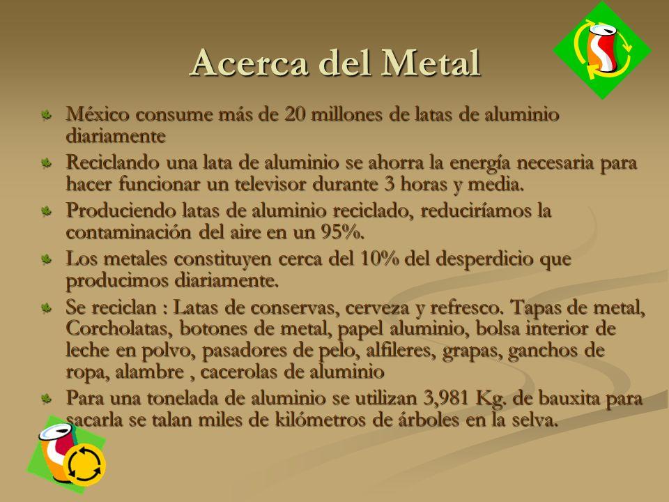 Acerca del Metal México consume más de 20 millones de latas de aluminio diariamente Reciclando una lata de aluminio se ahorra la energía necesaria para hacer funcionar un televisor durante 3 horas y media.