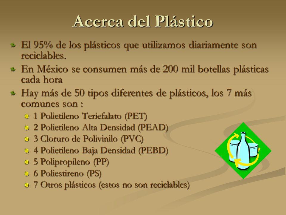 Acerca del Plástico El 95% de los plásticos que utilizamos diariamente son reciclables.