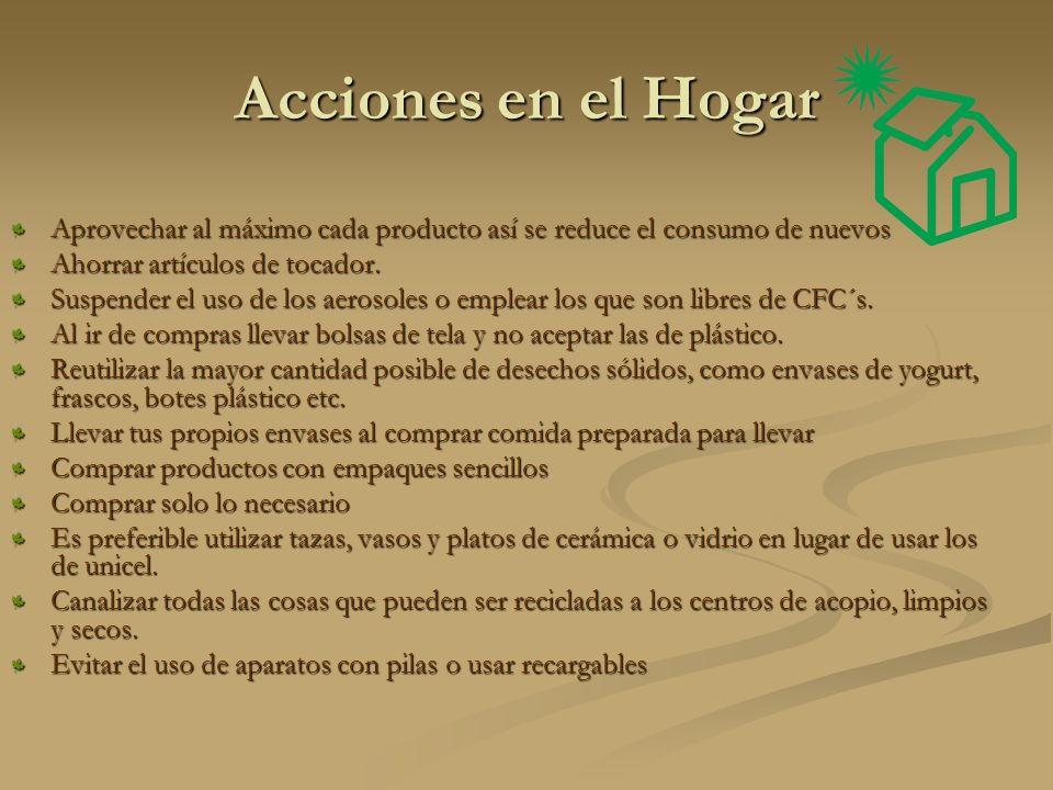 Acciones en el Hogar Aprovechar al máximo cada producto así se reduce el consumo de nuevos Ahorrar artículos de tocador.