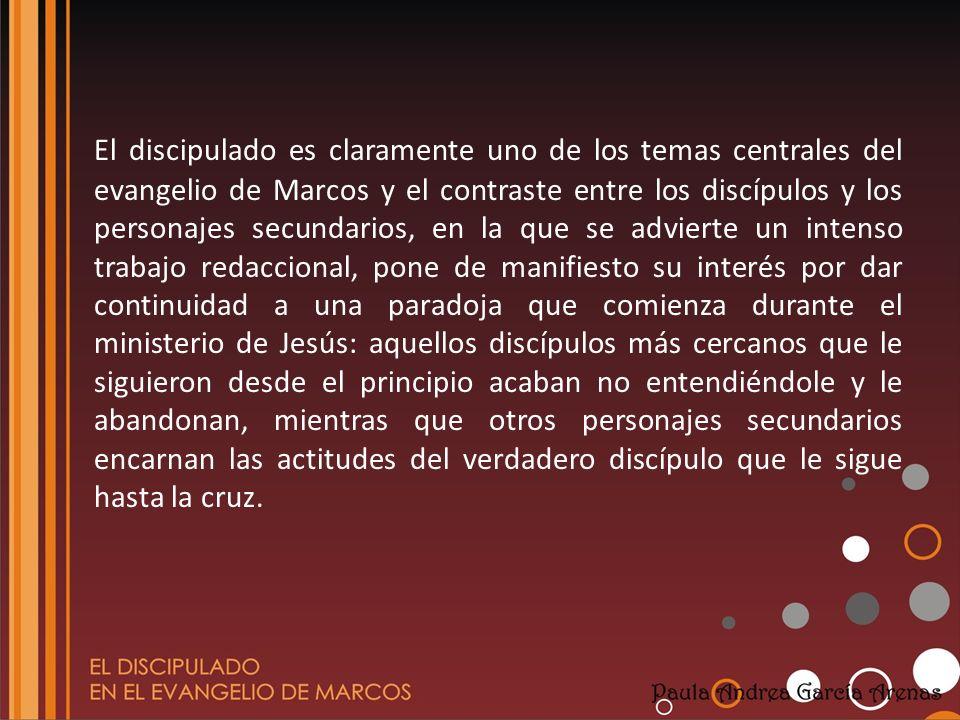 El discipulado es claramente uno de los temas centrales del evangelio de Marcos y el contraste entre los discípulos y los personajes secundarios, en l