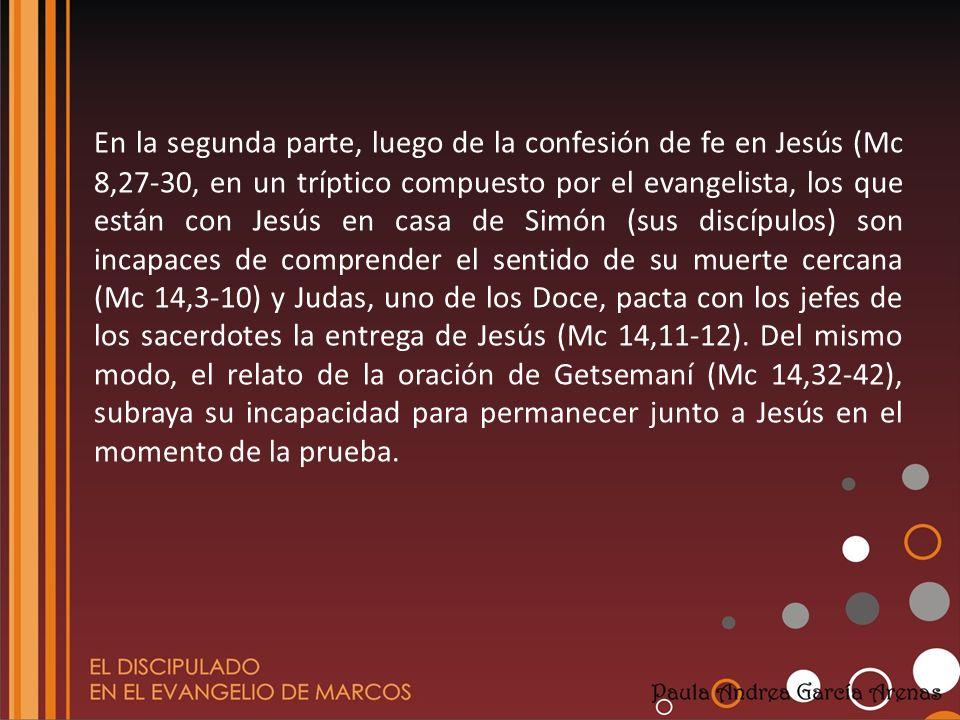 En dicho relato los discípulos aparecen bajo una luz negativa: Los Doce abandonan a Jesús (el anuncio de Mc 14,27 se cumple en Mc14,50); Judas le traiciona (el anuncio de Mc 14,20-21 se cumple en Mc 14,43.46) y Pedro le niega (el anuncio de Mc 14,30 se cumple en Mc 14,66-72).