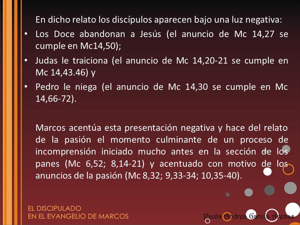 En dicho relato los discípulos aparecen bajo una luz negativa: Los Doce abandonan a Jesús (el anuncio de Mc 14,27 se cumple en Mc14,50); Judas le trai