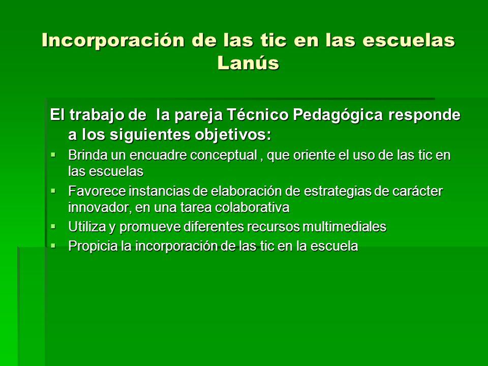 Incorporación de las tic en las escuelas Lanús El trabajo de la pareja Técnico Pedagógica responde a los siguientes objetivos: Brinda un encuadre conc