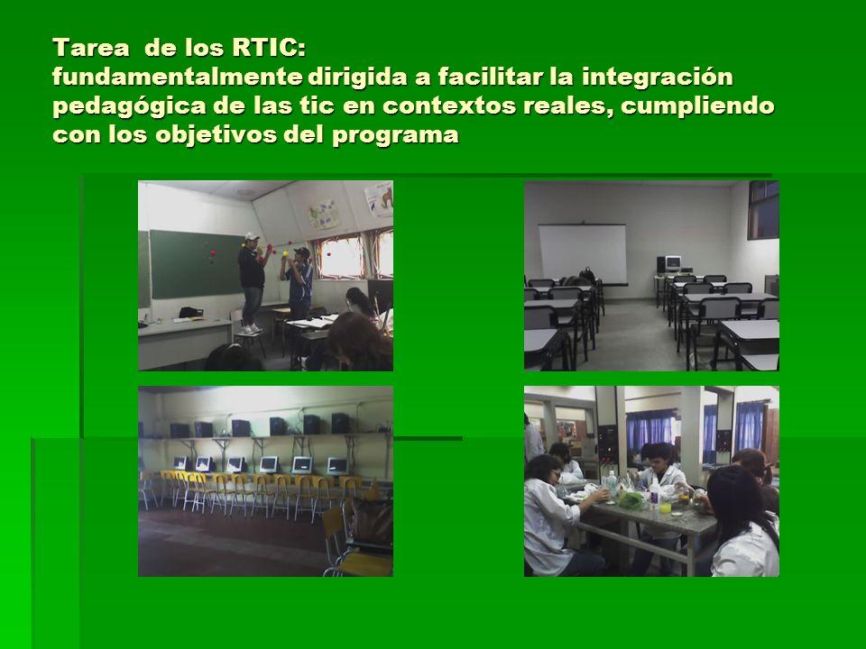 Tarea de los RTIC: fundamentalmente dirigida a facilitar la integración pedagógica de las tic en contextos reales, cumpliendo con los objetivos del pr