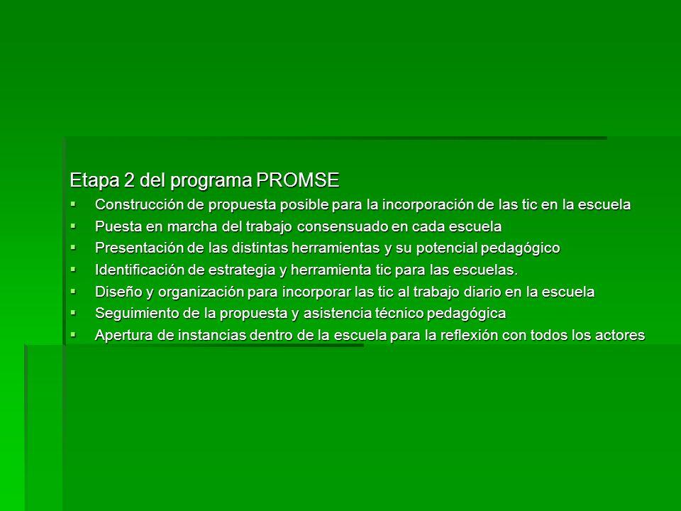 Etapa 2 del programa PROMSE Construcción de propuesta posible para la incorporación de las tic en la escuela Construcción de propuesta posible para la