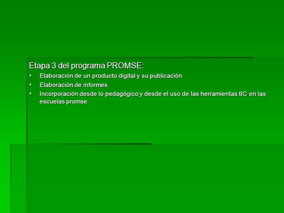 Etapa 3 del programa PROMSE: Elaboración de un producto digital y su publicación Elaboración de un producto digital y su publicación Elaboración de in