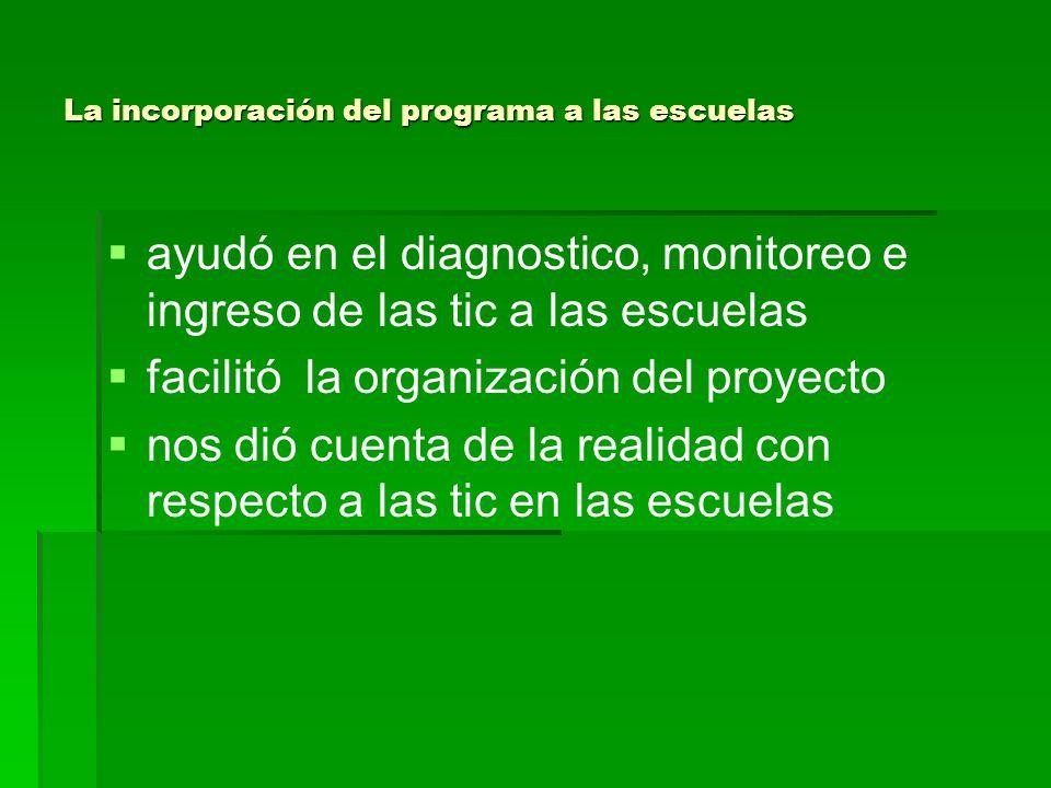 La incorporación del programa a las escuelas ayudó en el diagnostico, monitoreo e ingreso de las tic a las escuelas facilitó la organización del proye