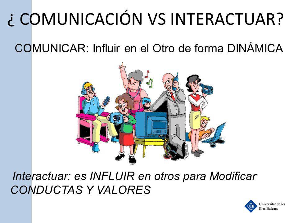¿ COMUNICACIÓN VS INTERACTUAR? COMUNICAR: Influir en el Otro de forma DINÁMICA Interactuar: es INFLUIR en otros para Modificar CONDUCTAS Y VALORES