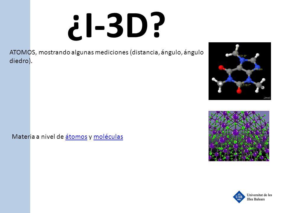 ¿I-3D? ATOMOS, mostrando algunas mediciones (distancia, ángulo, ángulo diedro). Materia a nivel de átomos y moléculasátomosmoléculas