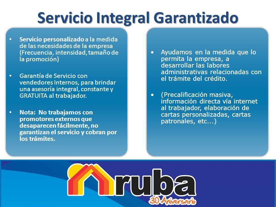 Servicio Integral Garantizado Servicio personalizado a la medida de las necesidades de la empresa (Frecuencia, intensidad, tamaño de la promoción) Gar