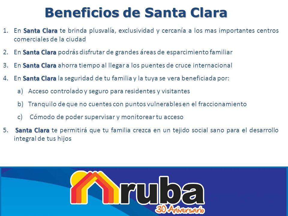 Beneficios de Santa Clara Santa Clara 1.En Santa Clara te brinda plusvalía, exclusividad y cercanía a los mas importantes centros comerciales de la ci