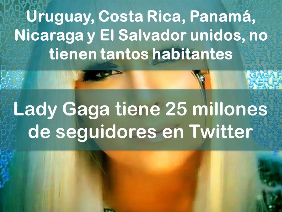 Uruguay, Costa Rica, Panamá, Nicaraga y El Salvador unidos, no tienen tantos habitantes Lady Gaga tiene 25 millones de seguidores en Twitter