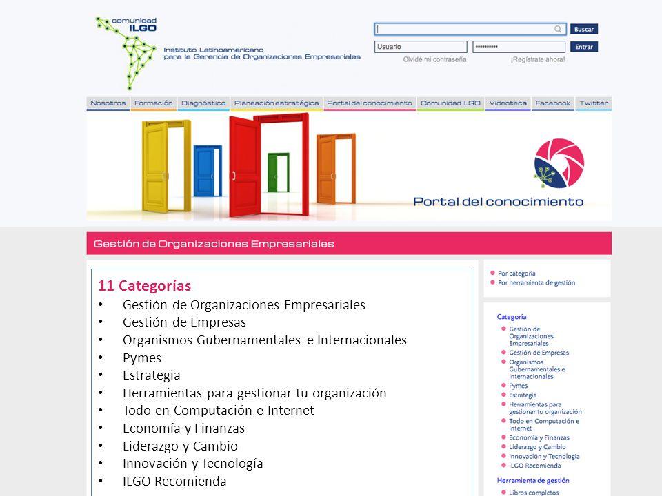 Las Redes Sociales en la Comunidad ILGO 11 Categorías Gestión de Organizaciones Empresariales Gestión de Empresas Organismos Gubernamentales e Interna