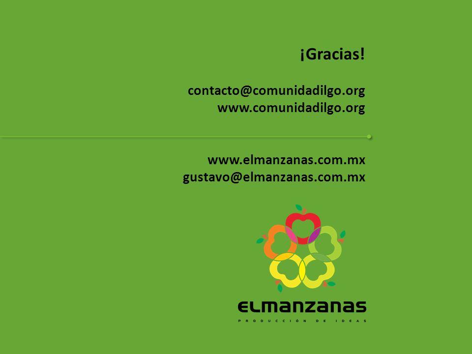 ¡Gracias! contacto@comunidadilgo.org www.comunidadilgo.org www.elmanzanas.com.mx gustavo@elmanzanas.com.mx