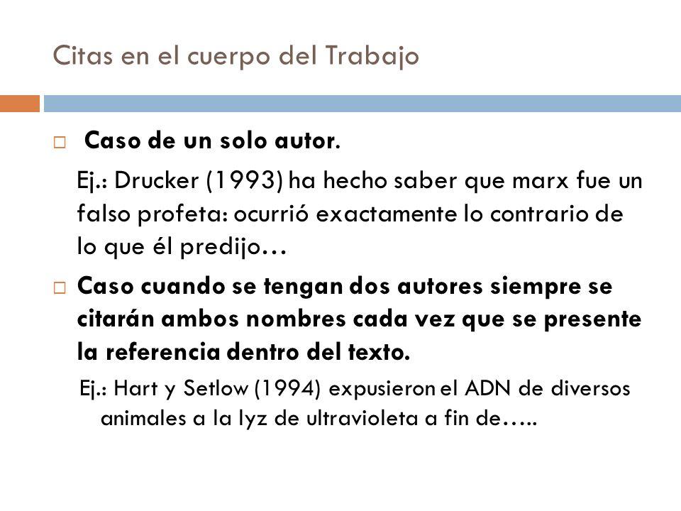 Citas en el cuerpo del Trabajo Caso de un solo autor. Ej.: Drucker (1993) ha hecho saber que marx fue un falso profeta: ocurrió exactamente lo contrar