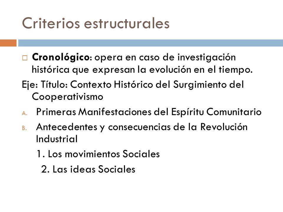 Criterios estructurales Cronológico: opera en caso de investigación histórica que expresan la evolución en el tiempo. Eje: Título: Contexto Histórico