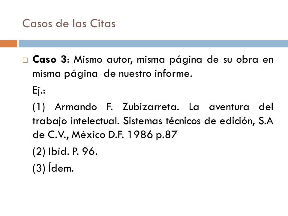 Casos de las Citas Caso 3: Mismo autor, misma página de su obra en misma página de nuestro informe. Ej.: (1) Armando F. Zubizarreta. La aventura del t