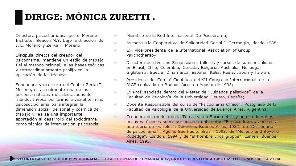 DIRIGE: MÓNICA ZURETTI.VITORIA GASTEIZ SCHOOL PSYCHODRAMA.