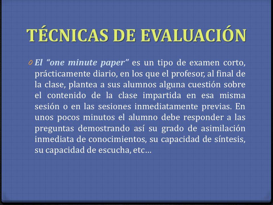 TÉCNICAS DE EVALUACIÓN 0 El one minute paper es un tipo de examen corto, prácticamente diario, en los que el profesor, al final de la clase, plantea a