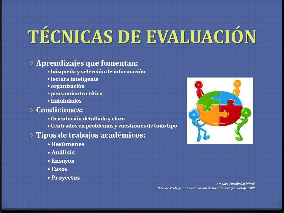 TÉCNICAS DE EVALUACIÓN 0 Aprendizajes que fomentan: búsqueda y selección de información lectura inteligente organización pensamiento crítico Habilidad