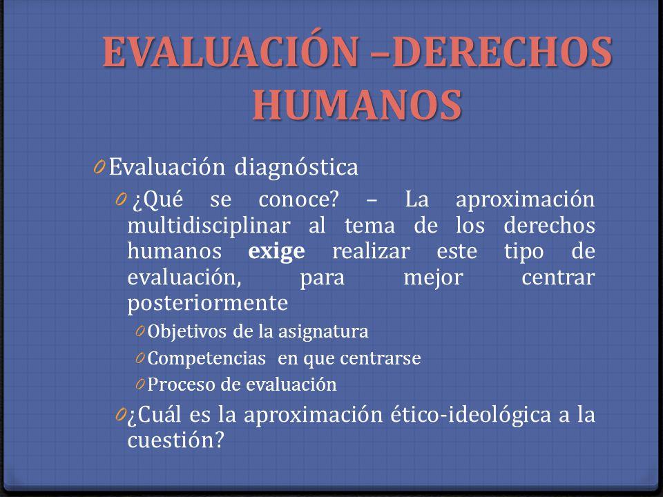EVALUACIÓN –DERECHOS HUMANOS 0 Evaluación diagnóstica 0 ¿Qué se conoce? – La aproximación multidisciplinar al tema de los derechos humanos exige reali
