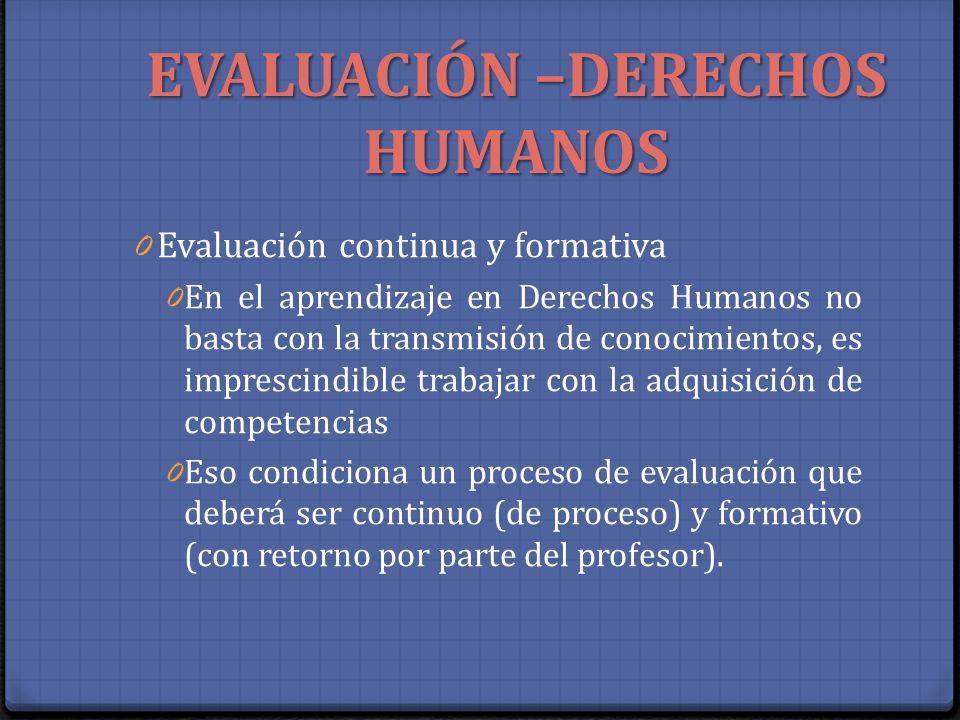 EVALUACIÓN –DERECHOS HUMANOS 0 Evaluación continua y formativa 0 En el aprendizaje en Derechos Humanos no basta con la transmisión de conocimientos, e