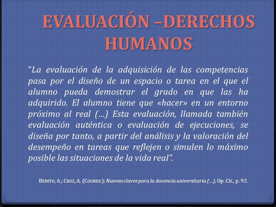 EVALUACIÓN –DERECHOS HUMANOS La evaluación de la adquisición de las competencias pasa por el diseño de un espacio o tarea en el que el alumno pueda de